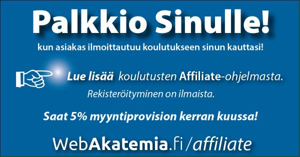 Affiliate WebAkatemia yhteistyökumppanuus - Myyntiprovisio